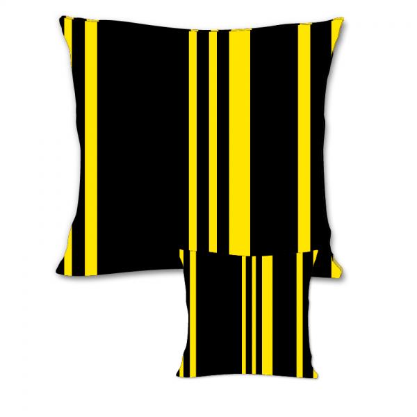 Zwart geel gestreept sierkussen voor buiten