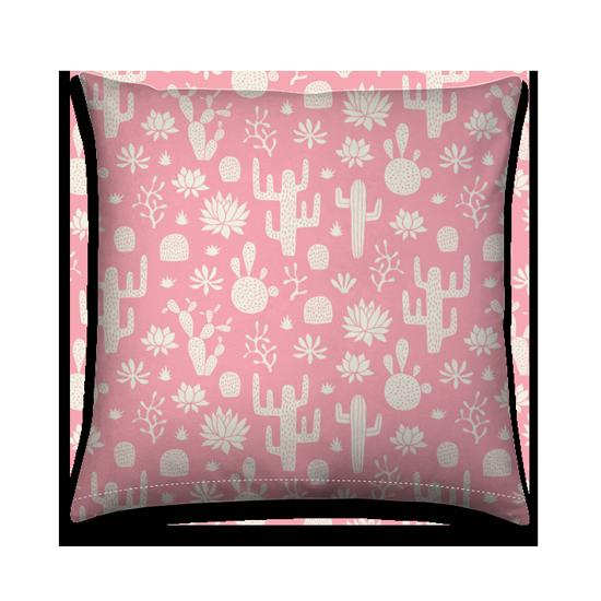Tuinkussen Cactus desert white on pink